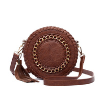Solid Center Stitched With Tassel Round Messenger Bag