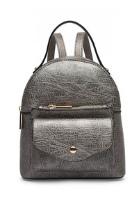 Solid Flap Over And Zipper Pocket Backpack