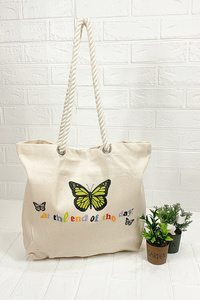 Beach Tote With Rope Handles With Print