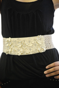 Multi Flower and Rhinestone Deco Fashion Belt
