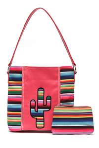 Solid, Rainbow With Cactus Single Handle Tote And Cosmetic Bag