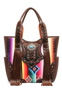 Restocked Western Cowgirl Fringe And Rainbow Tote Bag With Strapv