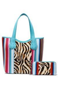 Western Cowgirl Two in one Zebra Print With Stripe Tote Bag
