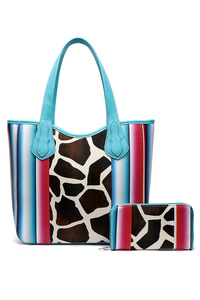 Western Cowgirl Two in one Cow Print With Stripe Tote Bag
