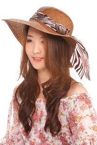 Zebra Print Ribbon Band Wide Ladies Straw Hat Assorted Colors Pr