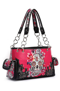Western Cowgirl Skull Print And Embo Satchel bag