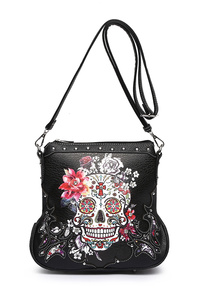 Western Cowgirl Skull Print And Embo Messenger Bag