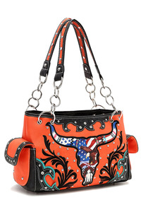Western Cowgirl USA And Skull Accented Satchel Bag