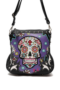 Restocked Western Cowgirl Skull Print And Embo Messenger Bag