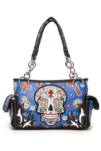 Restocked Western Cowgirl Skull, Cross And Flower Accented Satchel Bag