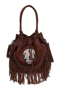 Western Cowgirl Skull And Studs Accented Bucket Style Top Handle Hobo Bag