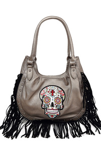 Western Cowgirl Skull And Studs Accented Top Handle Hobo Bag
