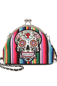 Restocked Western Cowgirl Skull And Rainbow Kiss Lock Clutch
