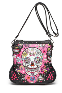 Western Cowgirl Skull And Flowers Printed Back Messenger