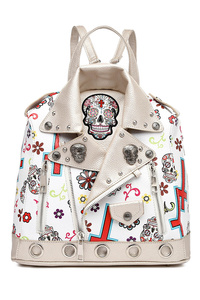 Western Cowgirl Jacket And Skull Print Backpack With 2 Front Zippers