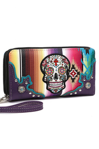 Solid, Skull With Cross Zip Around Wallet