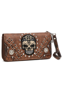 Skull Stitches And Studs Zip Around Wallet