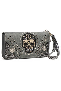Restocked Skull Stitches And Studs Zip Around Wallet