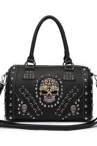 Skull Stitches And Studs Double Handle Satchel Bag With Strap