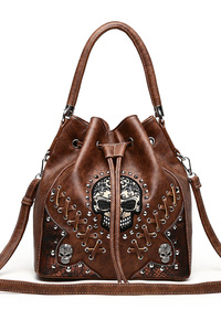 Restocked Skull Stitches And Studs Draw String Bucket Style Bag