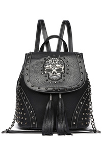 Skull Stitches, Fringes And Studs Backpack