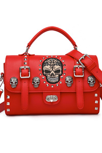 Skull Stitches And Studs Turn Lock Doctor Bag