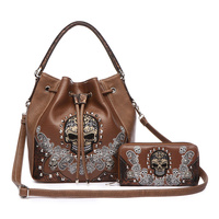 Skull Stitches And Studs Drawstring Style Bag And Wallet Two Pieces Set