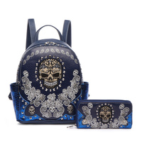 Skull Stitches And Studs Backpack And Wallet Two Pieces Set