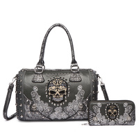 Skull Stitches And Studs Double Handle Satchel Two Pieces Set