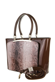 Snake And Solid Patent Accented Top Handle Tote Bag