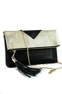 Tassel And Flap Over Snake Skin Clutch With Strap