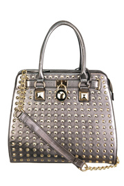 All Over Studs And Key Accented Tote Top Handle Bag With Strap