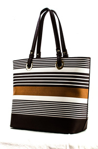 Multiple Rows Of Stripes Accented Tote Bag