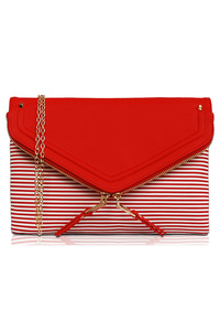 Solid And Stripe Flap Over Double Zipper Clutch With Chain Strap