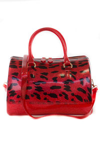 Candy Jelly Doctor Bag Style Leopard Print Glitter With Shoulder Strap Bag