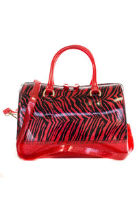 Candy Jelly Doctor Bag Style Zebra Print Glitter With Shoulder Strap Bag