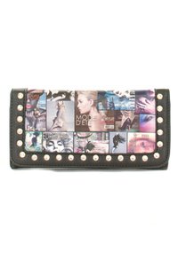 Magazine Design And Rhinestone Accented Tri Fold Wallet