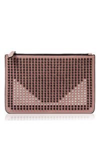 Colorful Studs Front Covered Clutch With Strap