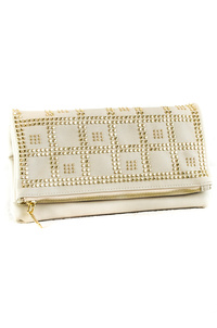 Solid With Studs Flap Over Clutch With Strap