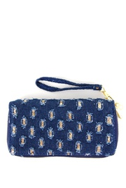 Washed Denim Fabric with Sequins Deco Double Zippered Wallet