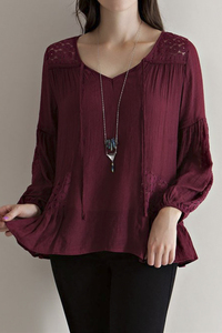 Solid rayon square neck peasant blouse featuring crochet lace detailing througho