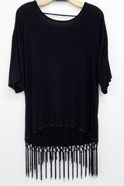 Fringe Tunic Jersey Tee - Features fringes on hemline, a round neckline, and an
