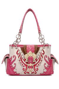 Restocked Rhinestones And Embo Belt Clip Double Pocket Satchel Bag