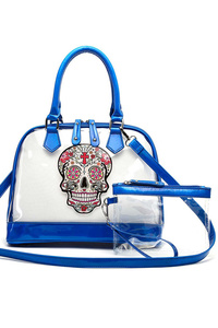 Skull Printed Clear See Through Front Pocket Tote Bag