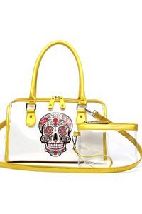 Skull Printed Clear See Through Satchel Separate Pouch Bag