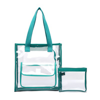 Restocked Clear See Through Two In One Outside Pocket Top Handle Tote Bag