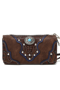 Restocked Western Cowgirl Fringe And Symbol Zip Around Wallet
