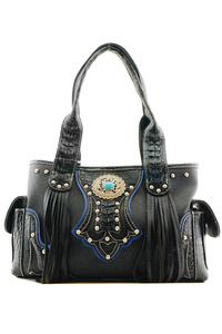 Restocked Western Cowgirl Fringe And Symbol Double Pocket Satchel Bag