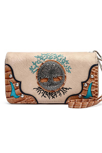 Western Cowgirl Center Charm Zip Around Wallet