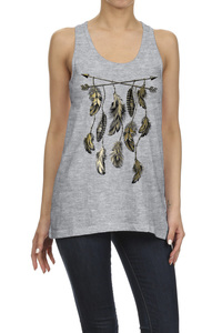 ARROWS AND FEATHERS SLEEVELESS GRAPHIC TEE